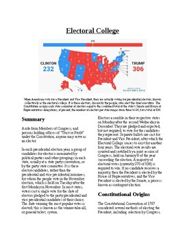 Info Reading Text - The Presidency: The Electoral College (no prep/sub plans)
