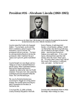 Info Reading Text - The Presidents: Abraham Lincoln (no prep/sub plans)