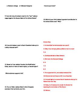 Info Reading Text - US Presidents: Andrew Jackson (No Prep/Sub Plans)