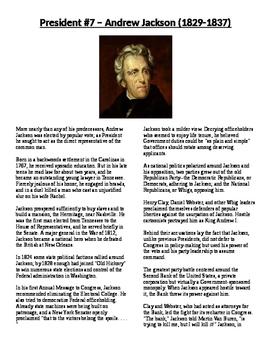 Info Reading Text - The Presidents: Andrew Jackson (No Pre