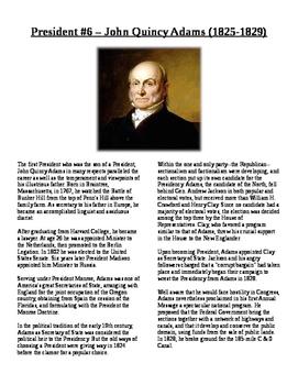 Info Reading Text - US Presidents: John Quincy Adams (No Prep/Sub Plans)