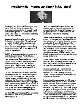 Info Reading Text - The Presidents: Martin Van Buren (No Prep)