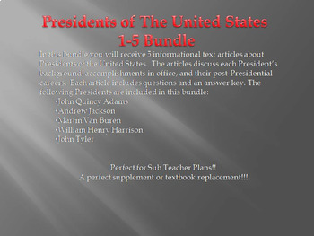 Info Reading Text - US Presidents: Presidents 6-10 Bundle (No Prep/Sub Plans)