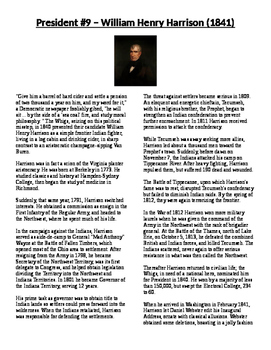 Info Reading Text - US Presidents: William Henry Harrison (No Prep/Sub Plans)