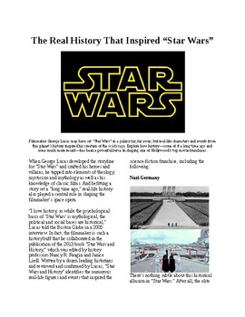 Info Reading Text - The Real History that Inspired Star Wars (no prep/sub plans)