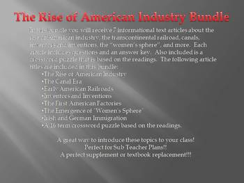 Info Reading Text - The Rise of American Industry Bundle (no prep/sub plan)