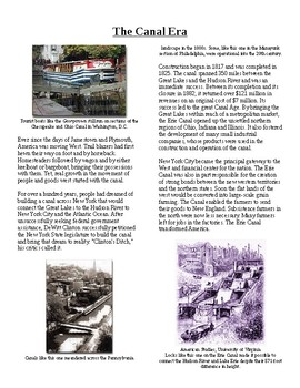 Info Reading Text - The Rise of American Industry: The Canal Era (no prep/sub)