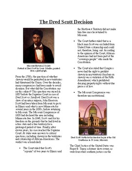 Info Reading Text - The Road to Civil War: Dred Scott Decision (no prep/sub plan