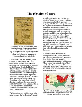 Info Reading Text - The Road to Civil War: Election of 1860 (no prep/sub plan)