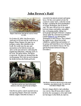 Info Reading Text - The Road to Civil War: John Brown's Raid (no prep/sub plan)