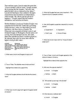 Info Reading Text - The Road to Civil War: Lincon-Dougals Debates (no prep/sub)