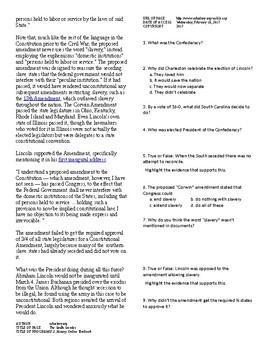 Info Reading Text - The Road to Civil War: Southern Secession (no prep/sub plan)