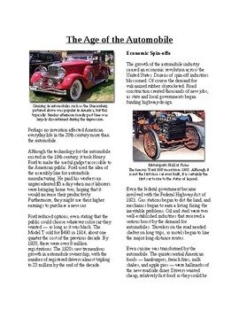 Info Reading Text - The Roaring 20's: Age of Automobile (no prep/sub plan)