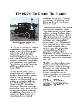 Info Reading Text - The Roaring 20's: Decade that Roared (no prep/sub plan)