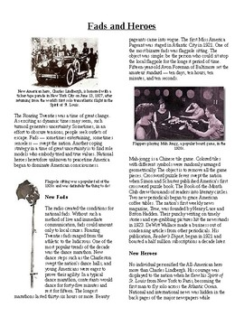 Info Reading Text - The Roaring 20's: Fads and Heroes (no prep/sub plan)