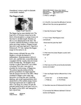 Info Reading Text - The Roaring 20's: Flappers (no prep/sub plan)