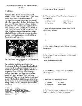 Info Reading Text - The Roaring 20's: Harlem Renaissance (no prep/sub plan)