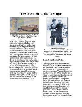 Info Reading Text - The Roaring 20's: Invention of Teenagers (no prep/sub plan)