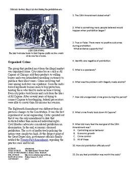 Info Reading Text - The Roaring 20's: Prohibition (no prep/sub plan)