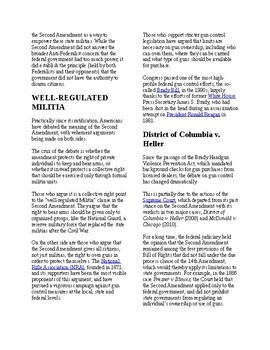 Info Reading Text - The Second Amendment (no prep/sub plan)