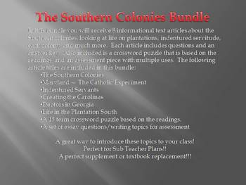 Info Reading Text - The Southern Colonies Bundle (no prep/sub plans)