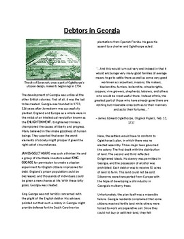 Info Reading Text - The Southern Colonies: Georgia (no prep/sub plans)