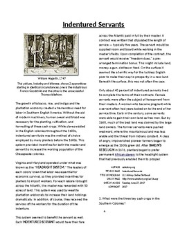 Info Reading Text-The Southern Colonies: Indentured Servants (no prep/sub plans)