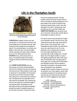 Info Reading Text - The Southern Colonies: Plantation Life (no prep/sub plans)