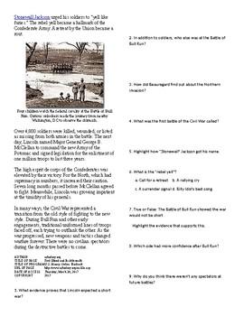 Info Reading Text - The US Civil War: Battle of Bull Run (no prep/sub plan)