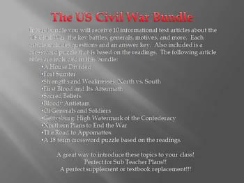 Info Reading Text - The US Civil War Bundle (no prep/sub plans)