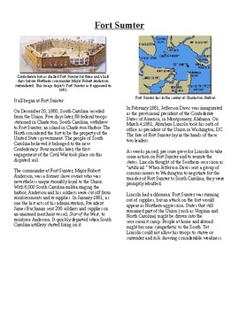Info Reading Text - The US Civil War: Fort Sumter (no prep/sub plans)