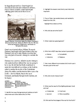 Info Reading Text - The US Civil War: Generals and Soldiers (no prep/sub plan)