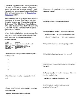 Info Reading Text - The US Civil War: Strengths and Weaknesses (no prep/sub plan