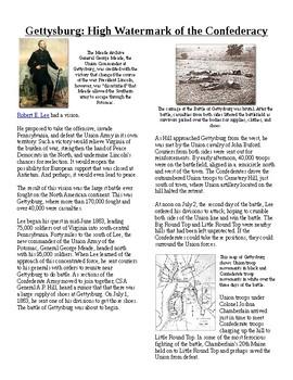 Info Reading Text - The US Civil War: The Battle of Gettysburg (no prep/sub plan