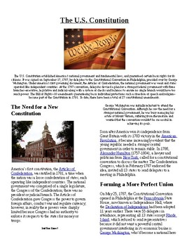 Info Reading Text - The US Constitution (no prep/sub plans)