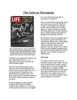 Info Reading Text - The Vietnam War: Antiwar Movement (no prep/sub plans)