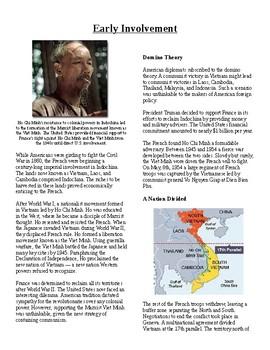 Info Reading Text - The Vietnam War: Early Involvement (no
