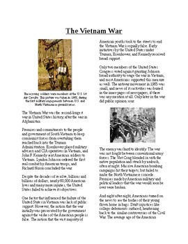 Info Reading Text - The Vietnam War Overview (no prep/sub plans)