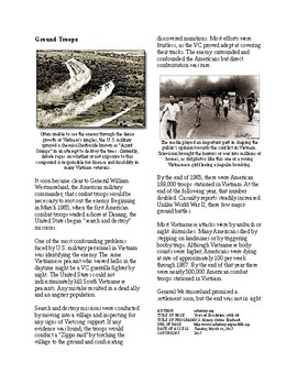 Info Reading Text - The Vietnam War: Years of Escalation (no prep/sub plans)