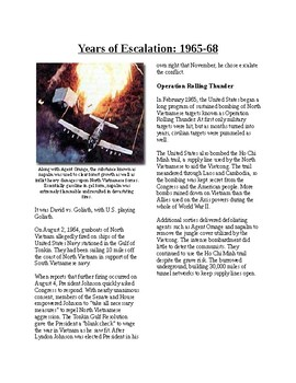 Info Reading Text - The Vietnam War: Years of Escalation (