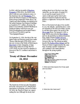 Info Reading Text - The War of 1812 Summary (no prep/sub plans)