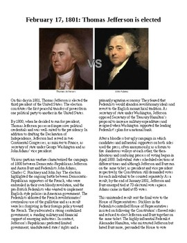 Info Reading Text - Thomas Jefferson elected in 1800 (no prep/sub plans)