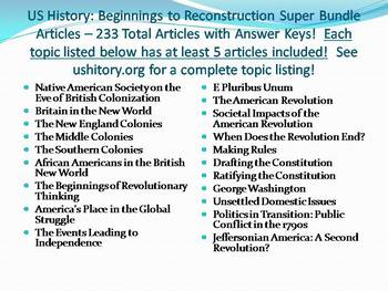 Info Reading Text - US History: Beginnings to Reconstruction Bundle! SAVE $250!!