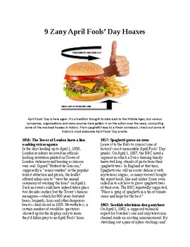 Info Reading Text - US Holidays: 9 Zany April Fool's Day Pranks (no prep/sub)