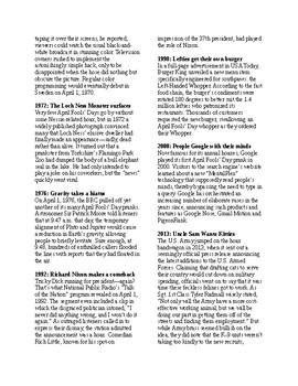 Info Reading Text - US Holidays: 9 Zany April Fool's Day Pranks (no prep/sub)