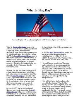 Info Reading Text - US Holidays: Flag Day (no prep/sub plans)