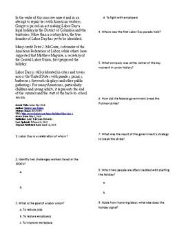 Info Reading Text - US Holidays: Labor Day (no prep/sub plans)