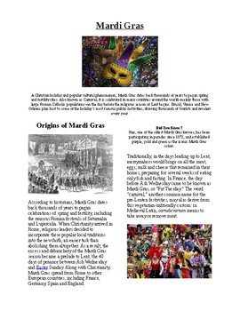 Info Reading Text and Vocab - US Holidays: Mardi Gras (no prep/sub plans)