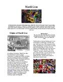 Info Reading Text and Vocab - US Holidays: Mardi Gras (no