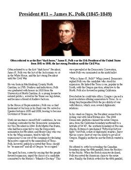 Info Reading Text - US Presidents: James K. Polk (no prep/sub plan)